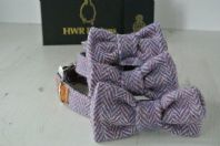Purple Harris Tweed Dog Bow Tie
